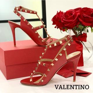 VALENTINO - 1252 美品 ヴァレンティノ ロックスタッズ パンプス 赤