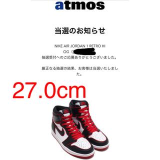 ナイキ(NIKE)のNIKE AIR JORDAN 1 RETRO HIGH BLACK/RED(スニーカー)