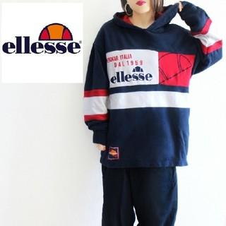 エレッセ(ellesse)の【激レア!】90s 白✖赤✖ネイビー BIGロゴ刺繍 オーバーサイズ パーカー(パーカー)
