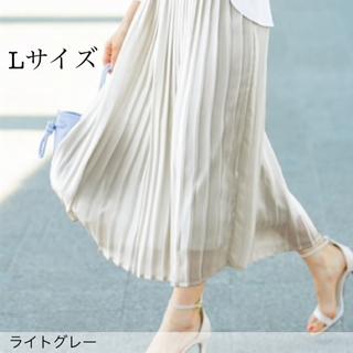 ニッセン(ニッセン)の【新品】プリーツロングスカート Lサイズ(ロングスカート)