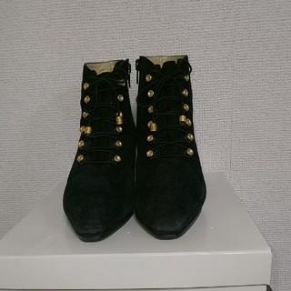 ギンザカネマツ(GINZA Kanematsu)のポンポン様専用  銀座かねまつ 黒スエード ショートブーツ(ブーツ)