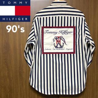 TOMMY HILFIGER - レア! 90's トミーヒルフィガー 背面ワッペン付き ストライプシャツ L