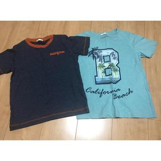 GU - GUジーユー◆120半袖Tシャツ2枚セット・ボーダープリント