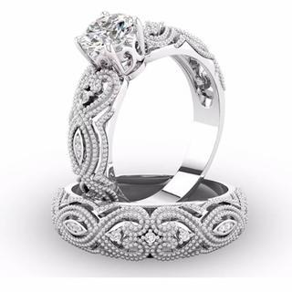 ☆15号2連リング/ホワイトCZダイヤモンドリング(リング(指輪))