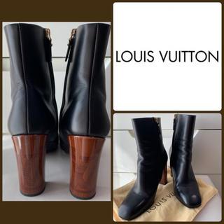 LOUIS VUITTON - ルイヴィトン ブラックレザー アイコンヒール  ブーツ