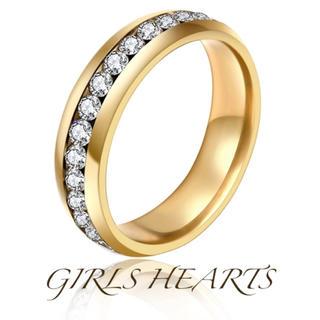 送料無料9号イエローゴールドスーパーCZダイヤステンレスフルエタニティリング指輪(リング(指輪))