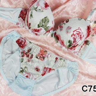 069★C75 M★美胸ブラ ショーツ 谷間メイク ローズプリント 水色(ブラ&ショーツセット)
