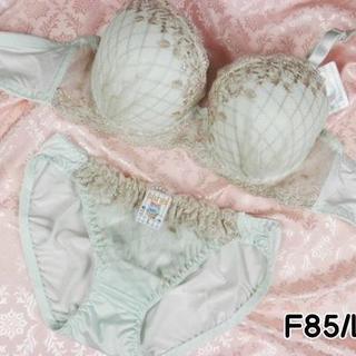 063★F85 LL★ブラ ショーツ ダイアチェック刺繍 アイスグリーン(ブラ&ショーツセット)