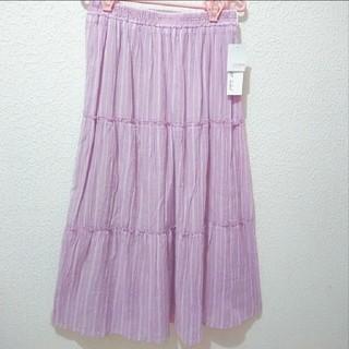 シマムラ(しまむら)の新品 しまむら ピンク ストライプ柄 ティアード ロング フレ スカート♥️GU(ロングスカート)