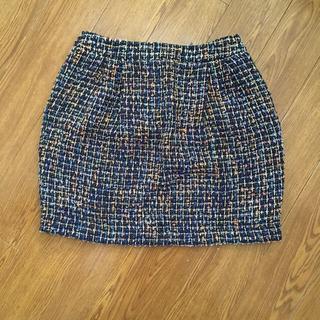 MERCURYDUO - ツイード スカート ネイビー フリーサイズ