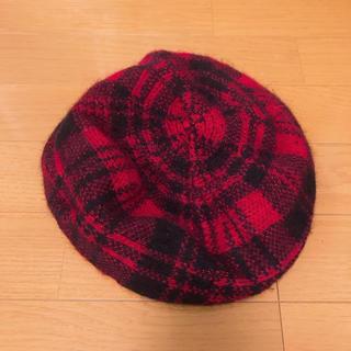 マウジー(moussy)の【MOUSSY】マウジー ベレー帽 チェック柄 レッド(ハンチング/ベレー帽)