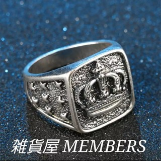 送料無料22号クロムシルバービッグメタルクラウン王冠スタンプリング指輪残りわずか(リング(指輪))