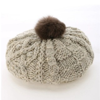 サマンサモスモス(SM2)の❣Samansa Mos2❣ファーぽんぽん付ニットベレー(ハンチング/ベレー帽)