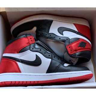 ナイキ(NIKE)のNIKE AIR JORDAN1 Black Toe Satin 26cm(スニーカー)