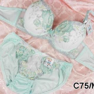 080★C75 M★美胸ブラ ショーツ Wパッド ローズ刺繍 緑系(ブラ&ショーツセット)