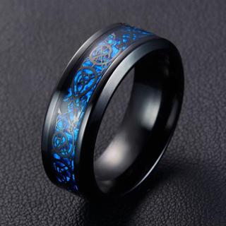 特価高品質!クールなブラック&ブルーのステンレスリング 10、11号相当(リング(指輪))