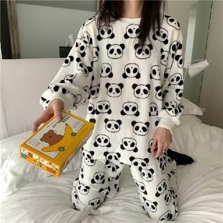可愛 新品コーラルフリース パンダ柄  パジャマ   上下セット (パジャマ)