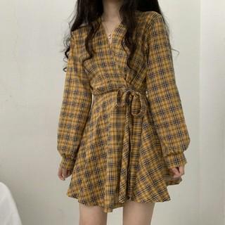 韓国のファッション新品可愛  チェック Vネック  ワンピース イエロー (ミニワンピース)