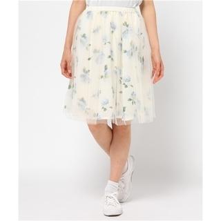 ページボーイ(PAGEBOY)の《PAGE BOY》花柄 フラワー チュール重ね スカート F(ひざ丈スカート)