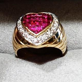 K18 ルビーダイヤ  ボリュームリング(リング(指輪))