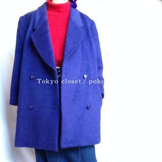 デプト(DEPT)の鮮やか パープル 紫 ふんわり コート モヘア混 Pコート ウール(ロングコート)