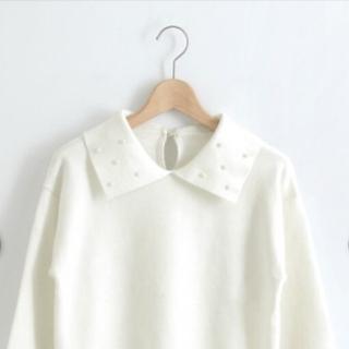 マジェスティックレゴン(MAJESTIC LEGON)のパール襟セーター(ニット/セーター)