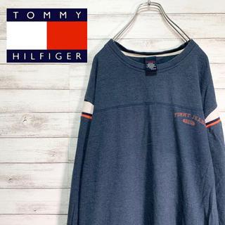 トミー(TOMMY)の【大人気】トミージーンズ ロンT 長袖 ワンポイント スリーブライン ネイビー(Tシャツ/カットソー(七分/長袖))