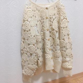 ロキエ(Lochie)のvintageレトロ古着ボリューム刺繍ニット編みカーディガン(ニット/セーター)