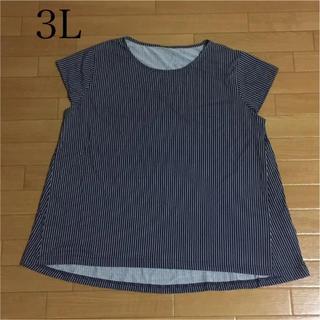 未使用品 3L Tシャツ カットソー ストライプ 大きいサイズ(Tシャツ(半袖/袖なし))