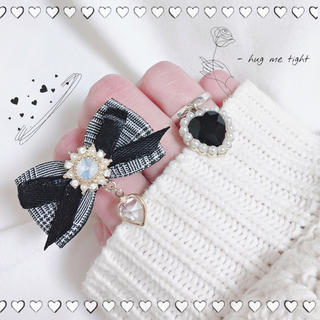 きらきら乙女のリボンリング(ブラック) 指輪 ハンドメイド