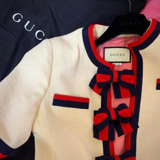 Gucci - GUCCI リボン付きジャケット  新品未使用  GUCCIハンガー、衣装袋付き