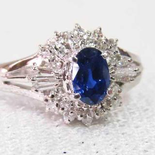 青色透明の美しいサファイアPT指輪☆ネオン感が有って素敵なブルーリング!!逸品(リング(指輪))