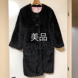 オペーク(OPAQUE)の値下げ♡エコファー ブラック コート (毛皮/ファーコート)