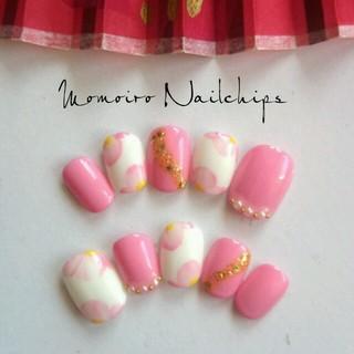 桃の花びら♡成人式ネイルチップ