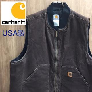 カーハート(carhartt)の【激レア】カーハート☆USA製 ブラウン ビッグサイズ ダックジップベスト90s(その他)