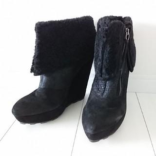 ASH - ASH アッシュ ウェッジソール ボア ショートブーツ 黒 新品