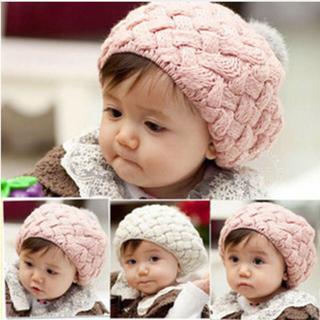 あったかぽんぽんニット帽子♡韓国ベビー服♡ベレー帽♡韓国子供服♡韓国ベビー服(帽子)