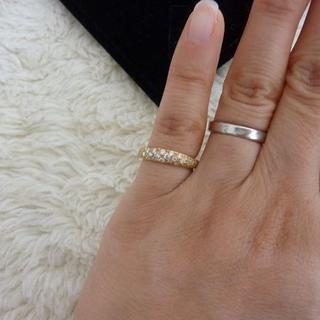 ディノス購入 K18YG ハーフパヴェ ピンキーリング ダイヤ0.4ct 6号(リング(指輪))