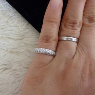 ディノス購入 K18WG ハーフパヴェ ピンキーリング ダイヤ0.4ct 6号(リング(指輪))