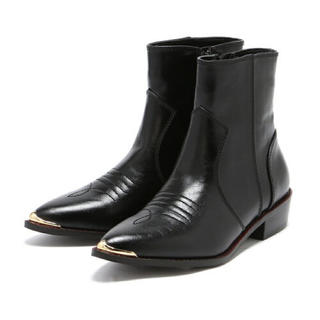 ジーナシス(JEANASIS)のJEANASISジーナシス ★ウエスタンショートブーツ 黒 ブラック(ブーツ)