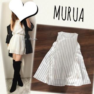 ムルーア(MURUA)のMURUA♡ストライプ柄ノースリーブワンピース(ミニワンピース)