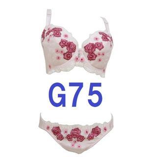 G75/L・ピンク バラ柄刺繍 ブラジャー&ショーツ 大きいサイズ 補正下着(ブラ&ショーツセット)