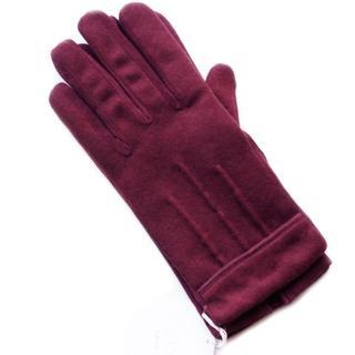 クロエ(Chloe)の新品 ライン コンビ ワインレッド カシミヤ混 クロエ GANT 手袋(手袋)
