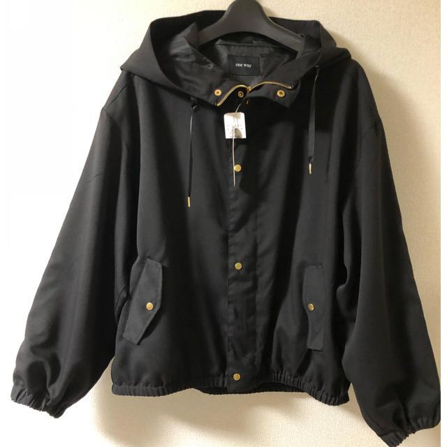 one*way(ワンウェイ)のワンウェイ  ボリュームスリーブマウンテンパーカー黒 レディースのジャケット/アウター(ブルゾン)の商品写真