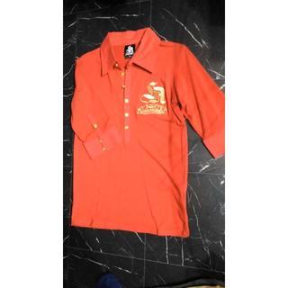 エルエーゲート(LA GATE)のLA GATEスパンコール7分袖ポロシャツ/ホストサーフ系V系ワイン(ポロシャツ)