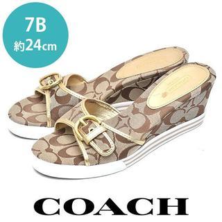 COACH - 美品❤️コーチ シグネチャー柄 ベルト ウェッジソール サンダル 7B(約24