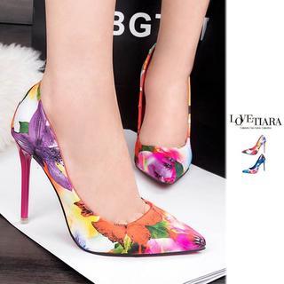 レディース靴 パンプス ハイヒール 花柄 ピンク24cm b8-18(ハイヒール/パンプス)