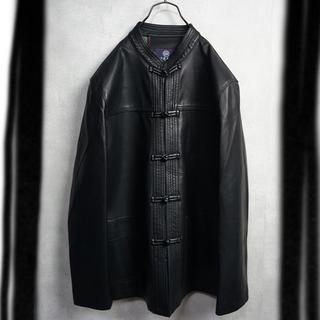 Big size チャイナジャケット ブラック(レザージャケット)