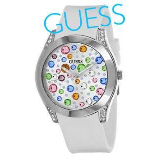 ゲス(GUESS)のGuess レディース腕時計 カラフルケース 白ラバーバンド 新品未使用(腕時計)