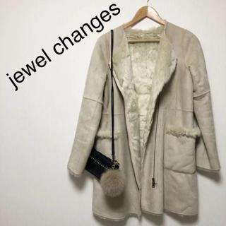 Jewel Changes - 美品♡Jewel Changes ジュエルチェンジズ ノーカラー ムートンコート